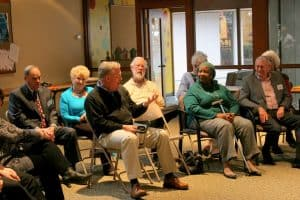 Lively discussion after the performance of the parable.